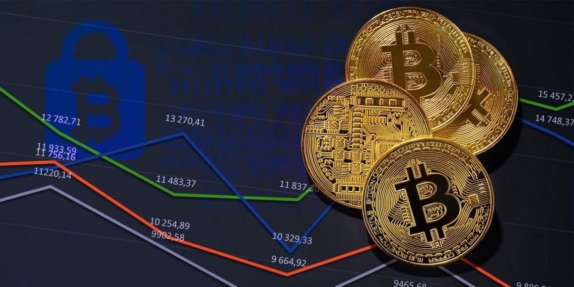 Monedas bitcoins sobre gráficas de precio