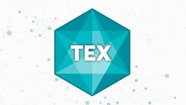 Logo del exchange descentralizado TEX, Rombo en verde marino con el nombre al centro.