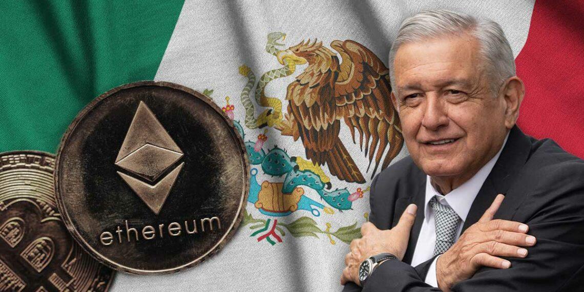 AMLO, BTC y ETH con bandera de México.