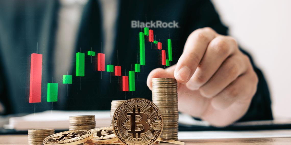 BTC con gráfico y pila de monedas, logo de Black Rock.