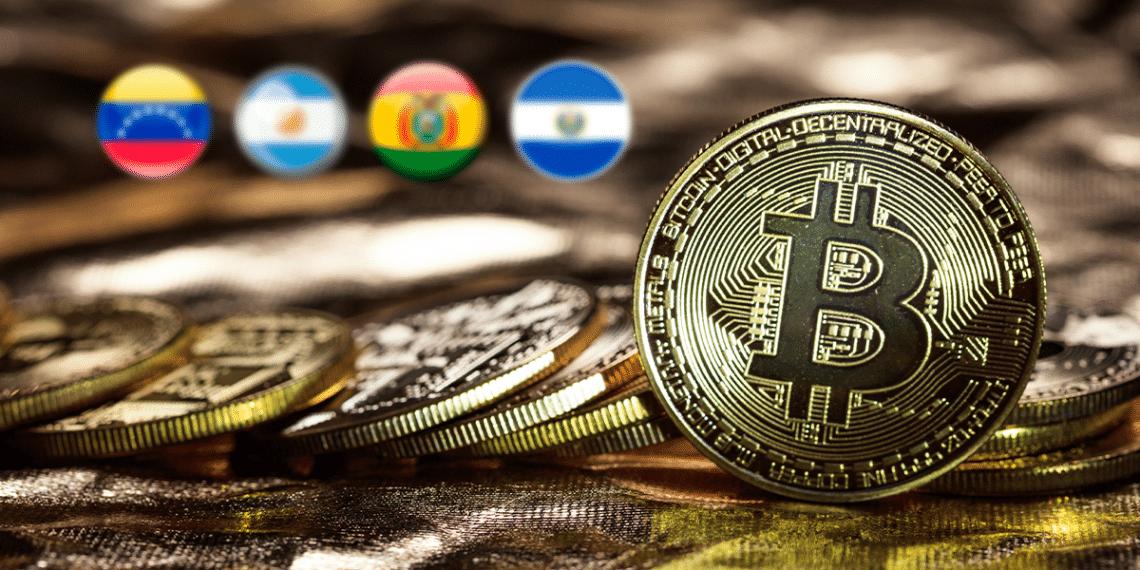 BTC, co n banderas de Venezuela, Bolivia, Argentina, El Savador.