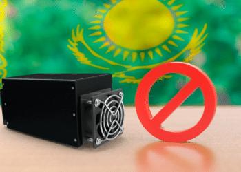 Minero y símbolo prohibido con bandera de Kazajisán.
