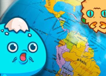 Axies sobre mapa mundi de latinoamerica.