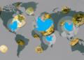 Mapa mundi con logo de Twitter y BTC.
