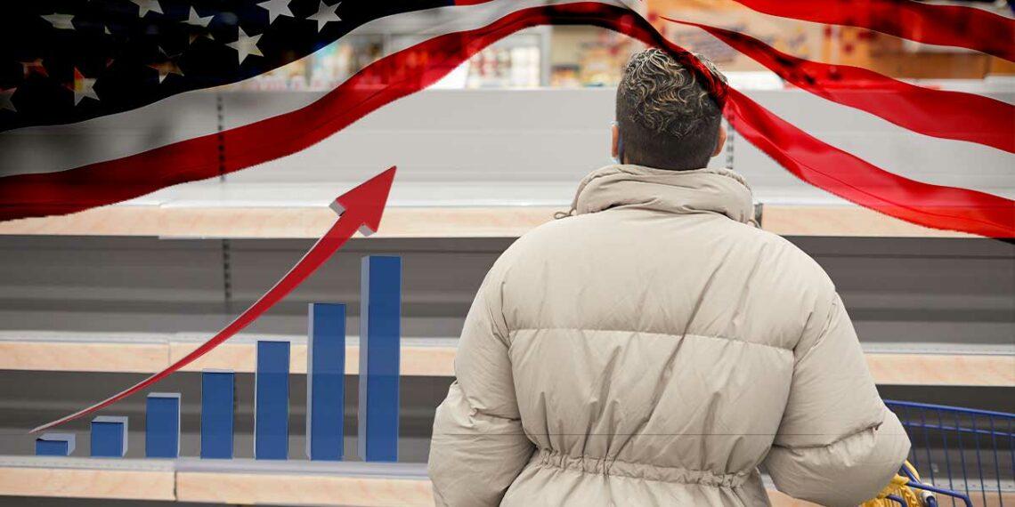 Estantes vacíos con bandera de USA y gráfica en alza.