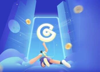 Logo de CoinEx en fondo azul con paracaidista cayendo