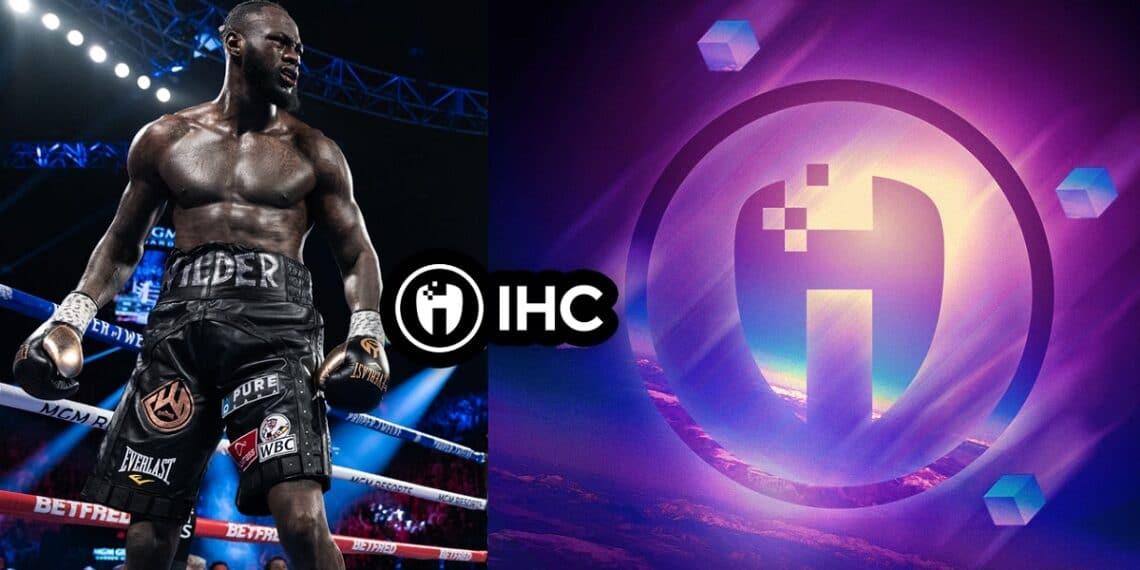 Boxeador sobre el ring y logo de la moneda IHC