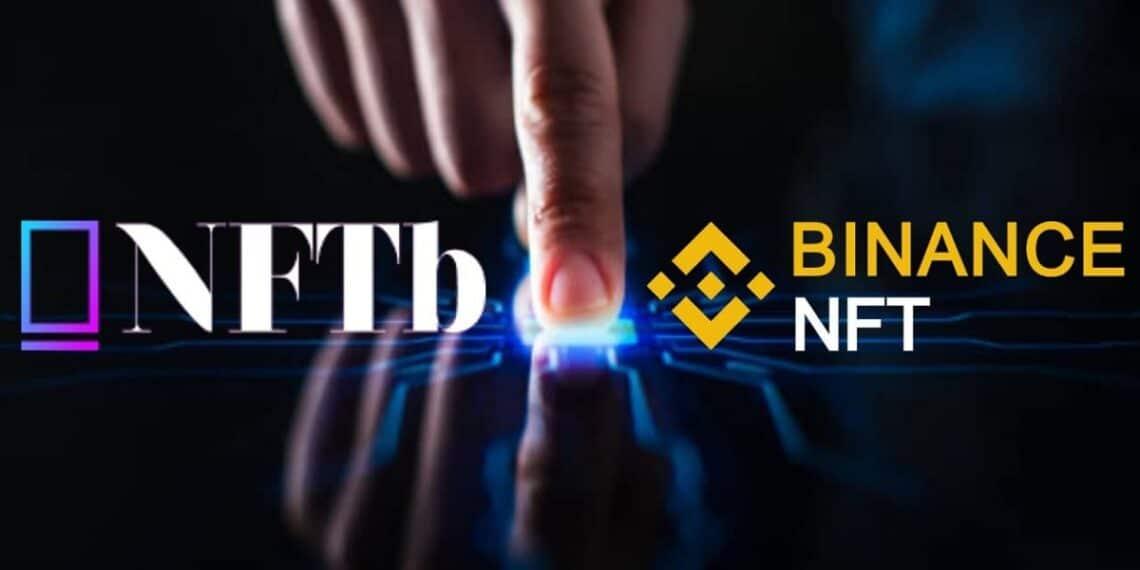 Logos de NFTb y Binance NFT sobre mano humana