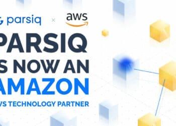 Pancarta publicitaria de la asociacion de PARSIQ con Amazon AWS