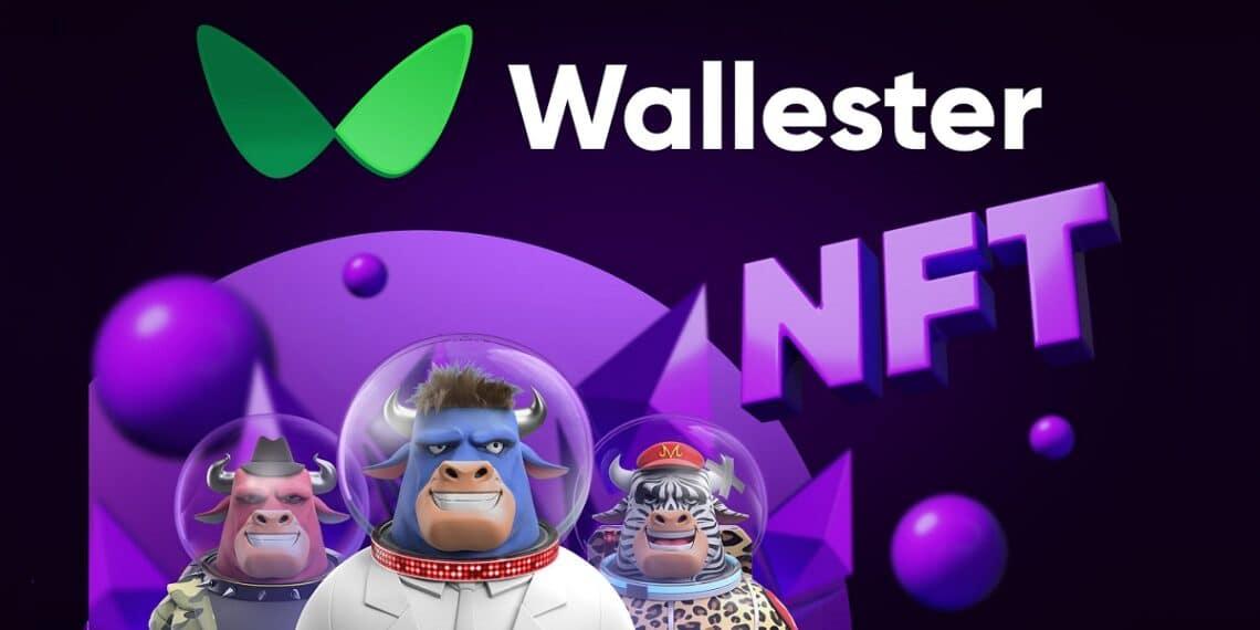 NFT de toros astronautas con el logo de Wallester