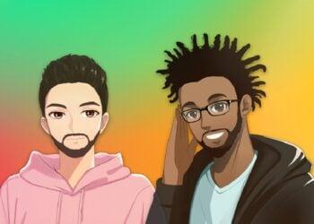 Caricaturas de dos hombres sobre fondo de colores y logo de YUP