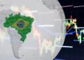 Globo con mapa de Brasil y gráfico.