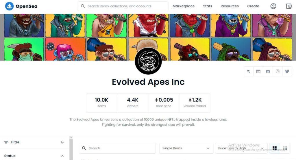 comercio-nft-evolved-apes-open-sea