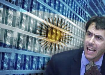 El diputado Martín Berhongaray de Argentina le pide información al gobierno sobre su acuerdo con la minería de bitcoin Bitfarms. Composición por CriptoNoticias. El Diario de la Pampa / eldiariodelapampa.com.ar; wirestock / freepik.com; Bitfarms / facebook.com.